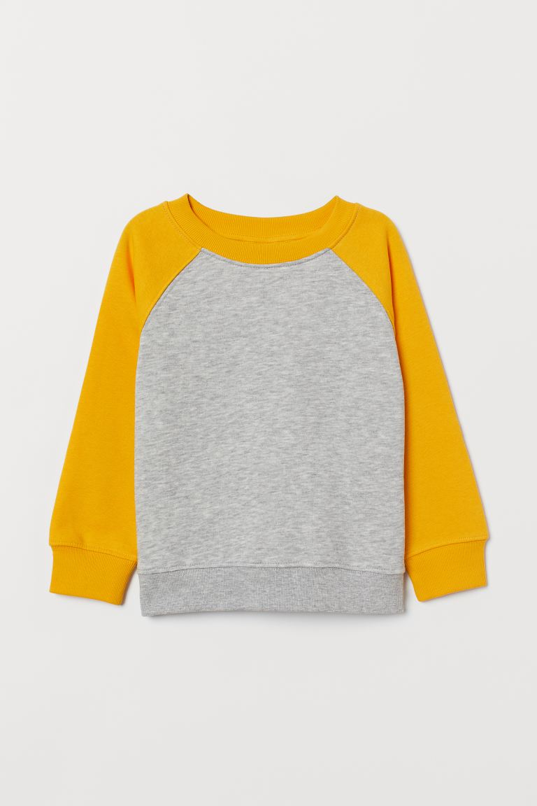 Sweatshirt - Light gray melange/yellow - Kids | H&M US