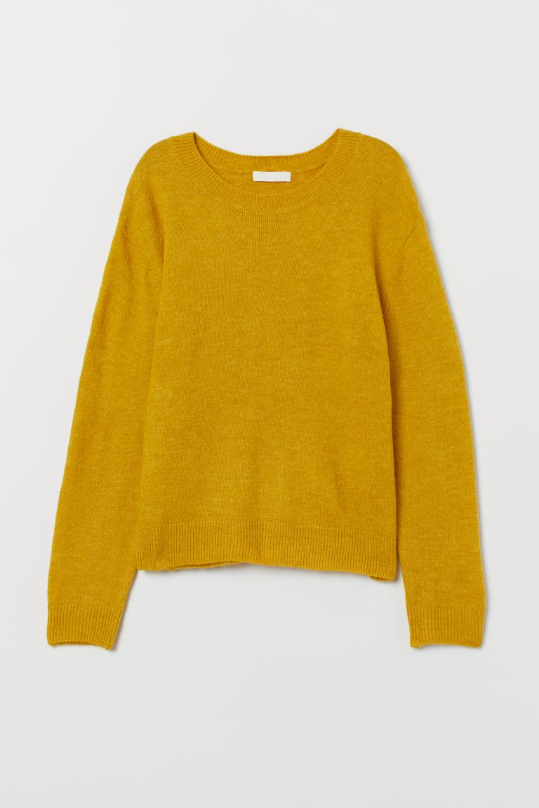 Fine-knit jumper - Dark yellow - Ladies | H&M IN