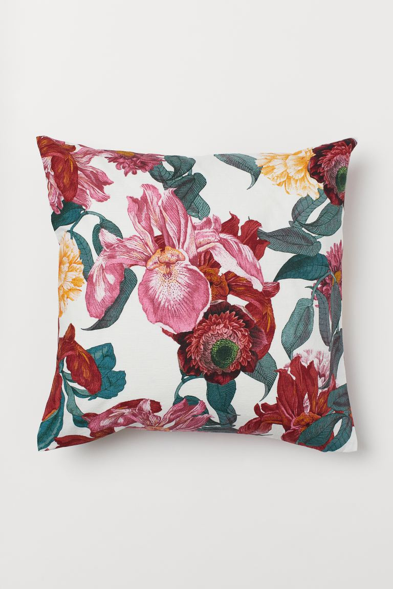Slub-weave Cushion Cover - White/floral - Home All | H&M US