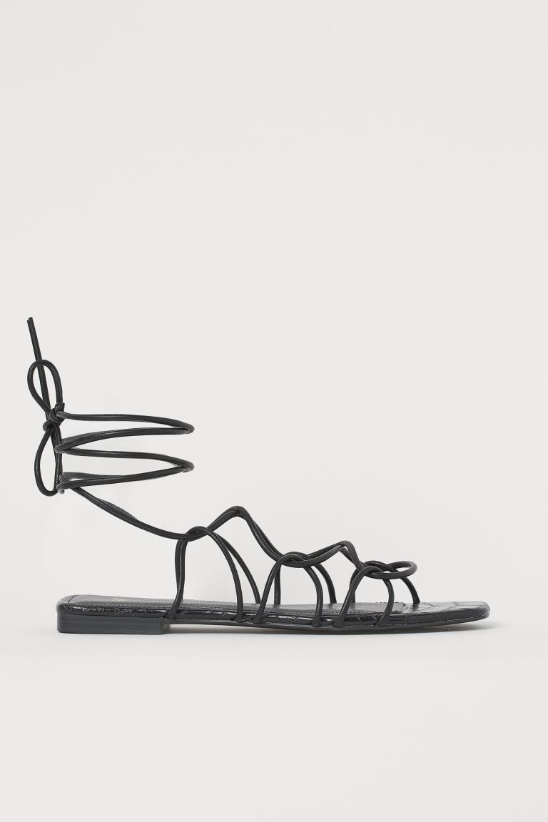 Strappy sandals - Black/Crocodile-patterned - Ladies | H&M GB