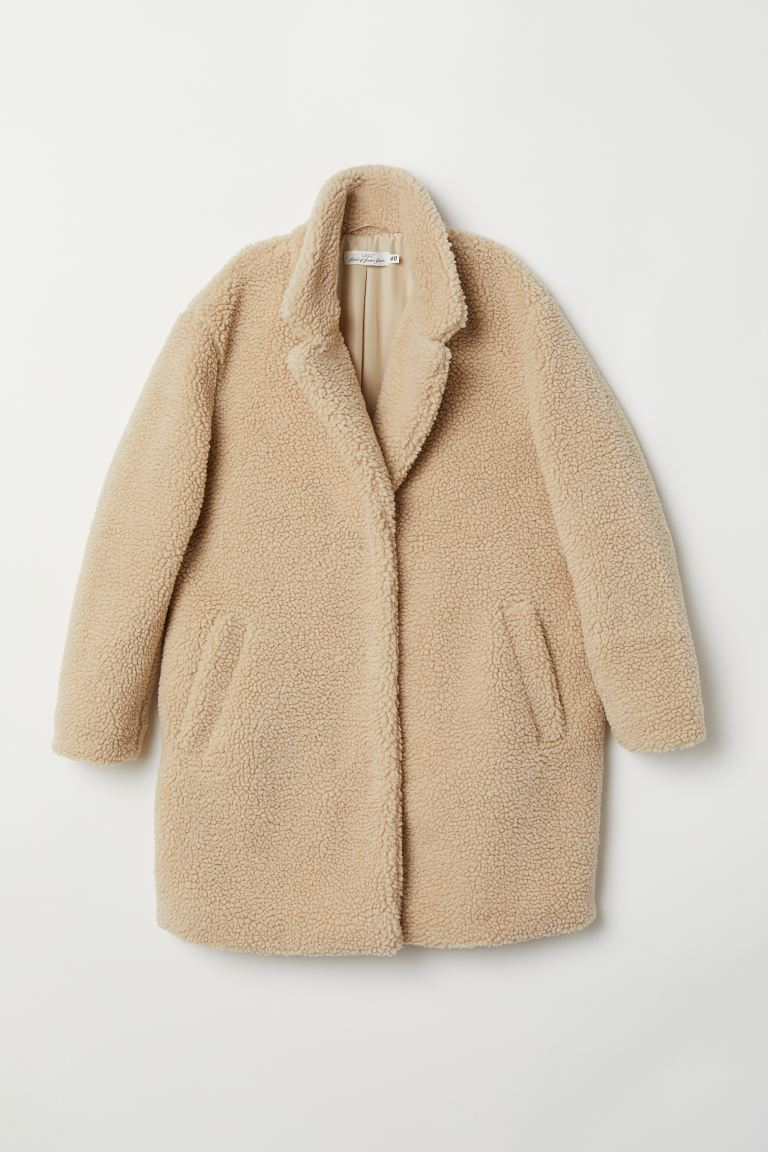 Short Faux Shearling Coat - Light beige - Ladies | H&M US