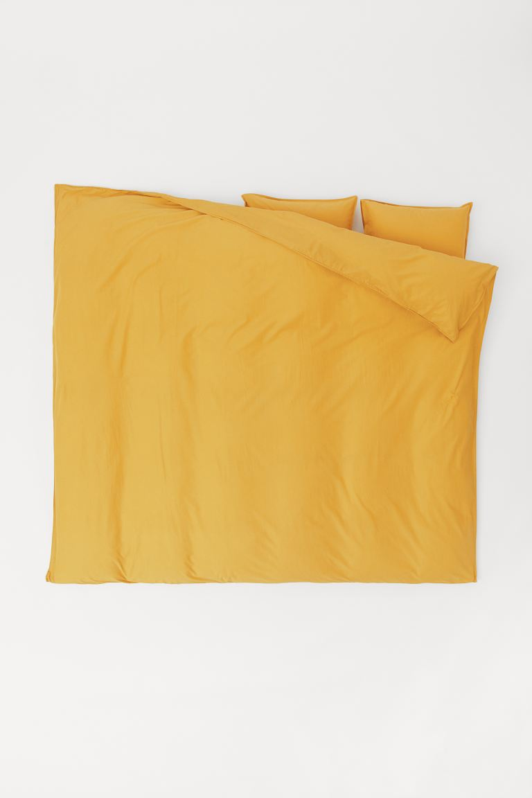 Washed Cotton Duvet Cover Set - Yellow - Home All | H&M US