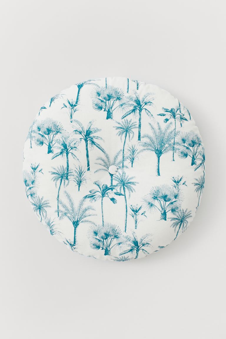 Round seat cushion - White/Palm trees - Home All | H&M GB