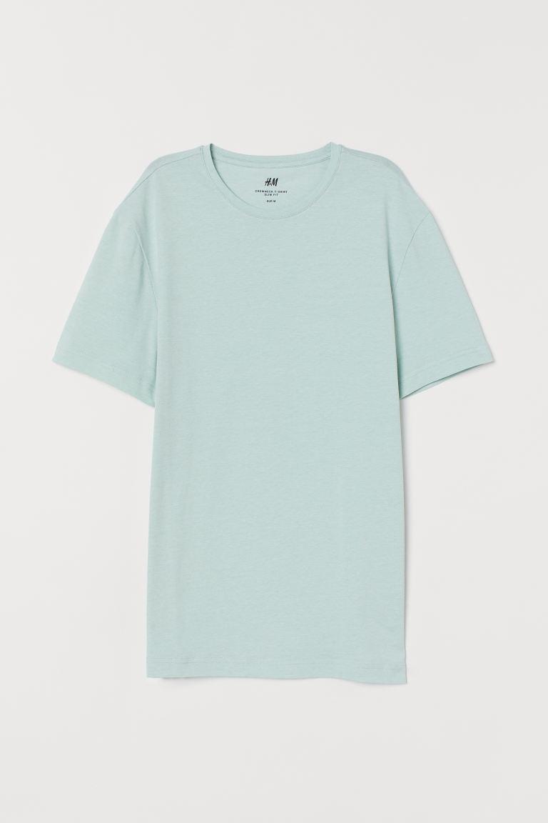 Round-necked T-shirt Slim Fit - Mint green - Men   H&M GB