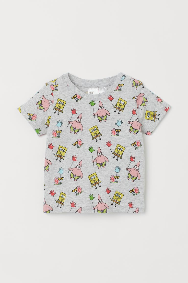 Printed T-shirt - Grey marl/SpongeBob - Kids | H&M