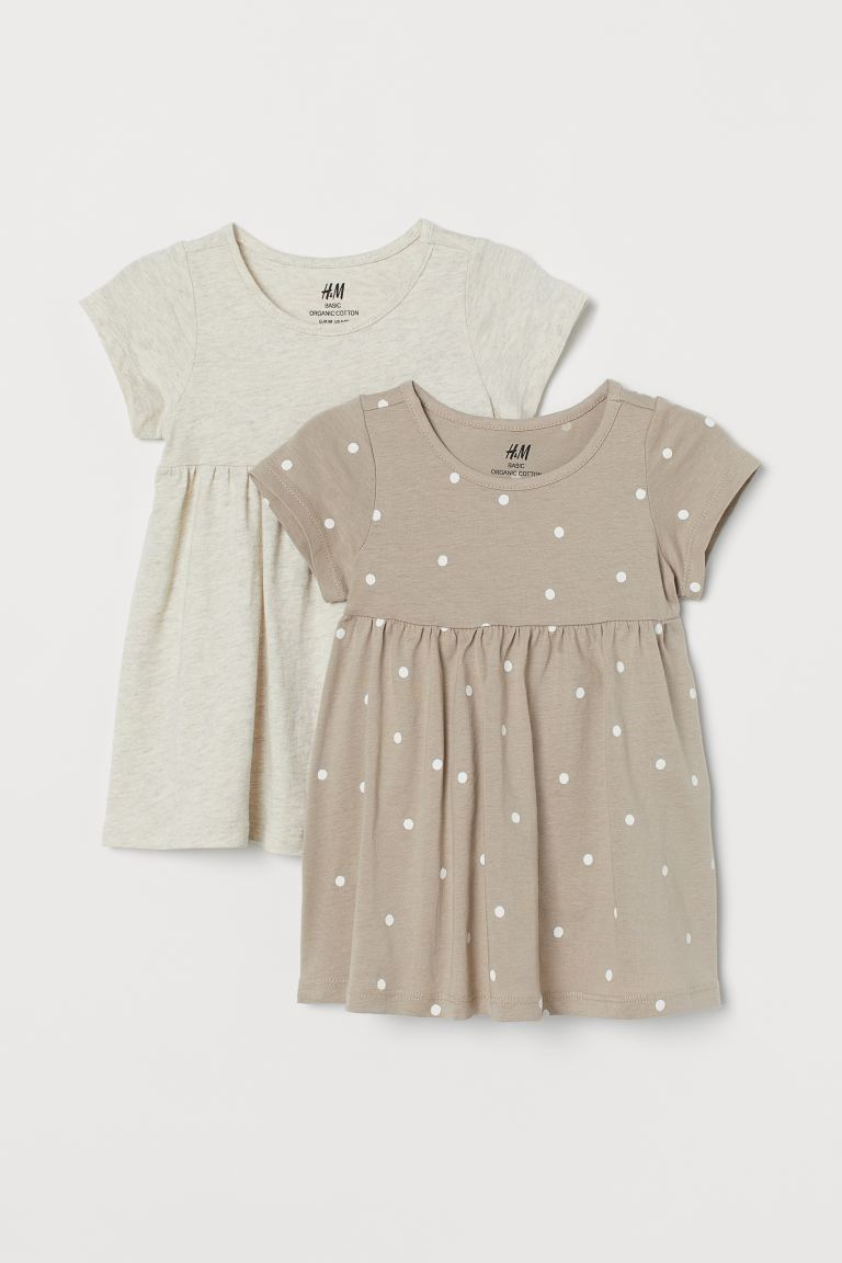 2-pack cotton dresses - Beige/White spotted - Kids | H&M