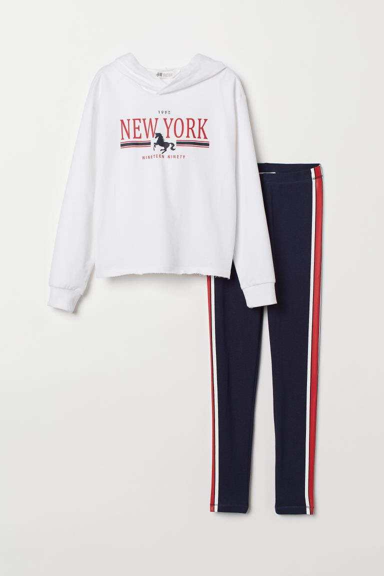 Hooded top and leggings - White/New York - Kids | H&M GB