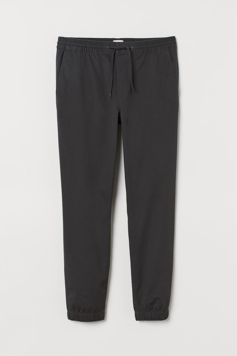 Brushed cotton twill joggers - Dark grey - Men | H&M GB