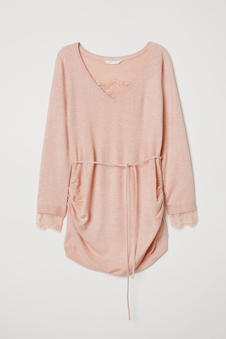 MAMA Sweater with Lace - Light pink melange - Ladies | H&M US