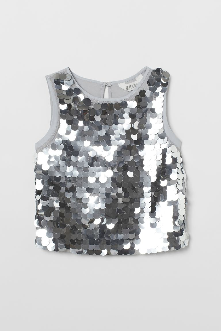 Sequined top - Light grey -    H&M GB