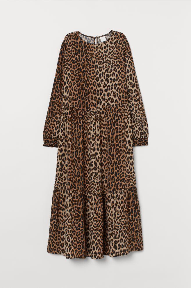 Crêped Dress - Dark beige/leopard print - Ladies | H&M US 4