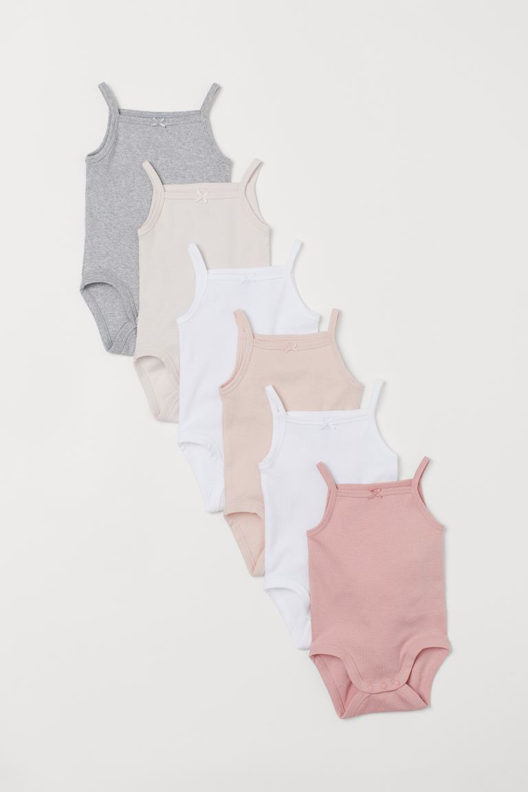 6-pack sleeveless bodysuits - Light pink/Multicoloured -  | H&M