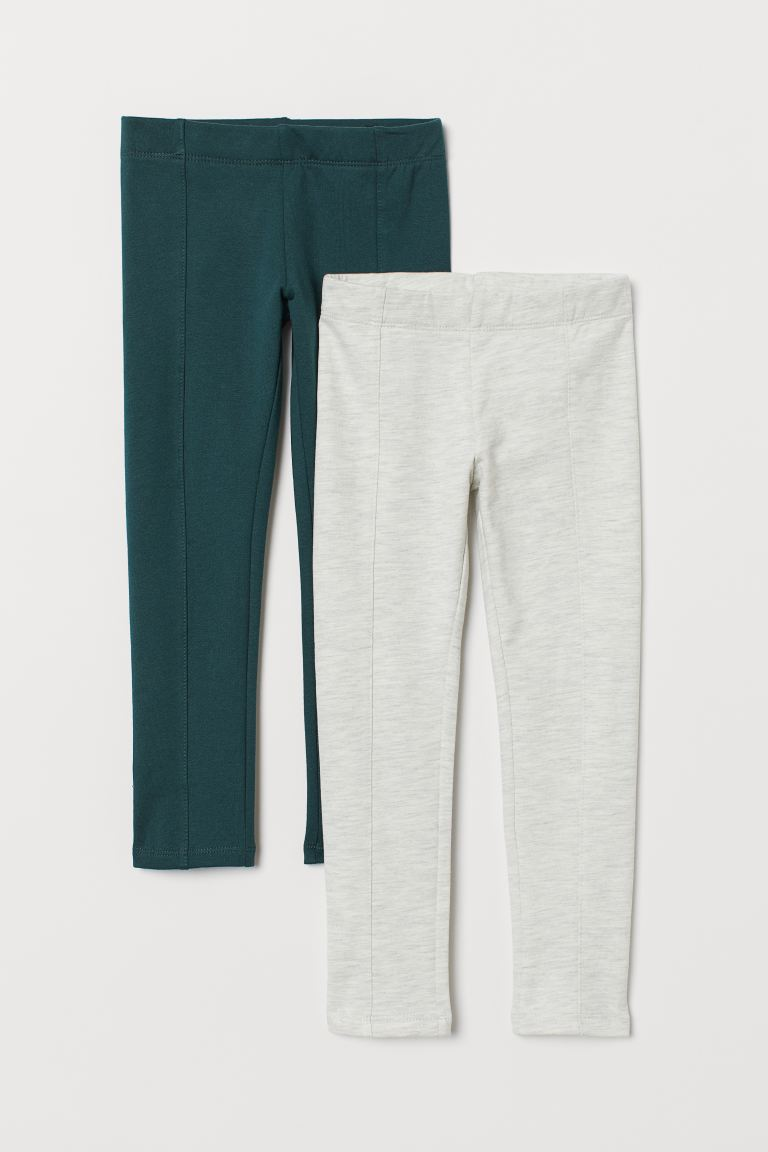2-pack Thick Jersey Leggings - Dark green/light gray melange - Kids | H&M CA
