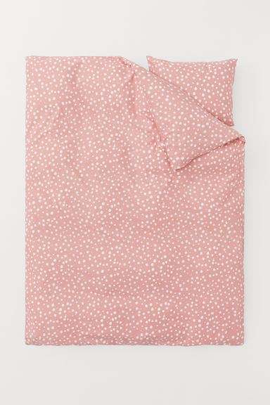 Set funda de duvet estampada - Rosa/Lunares - Home All | H&M MX