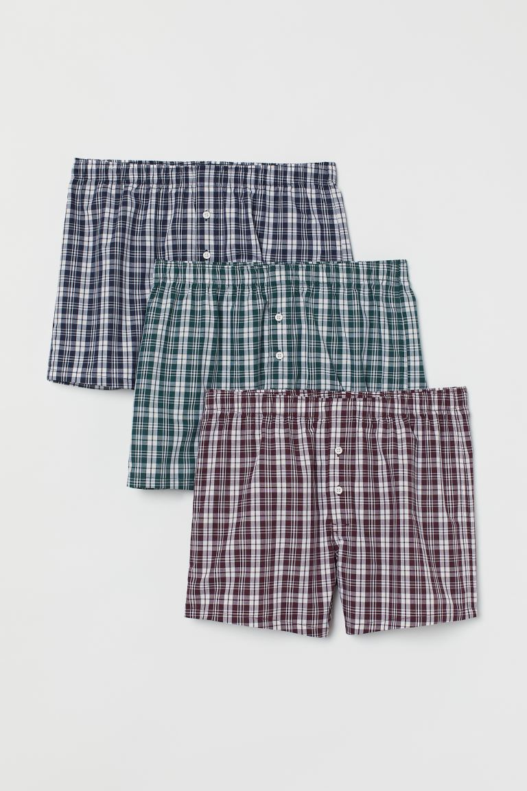 3-pack woven boxer shorts - White/Blue checked - Men | H&M