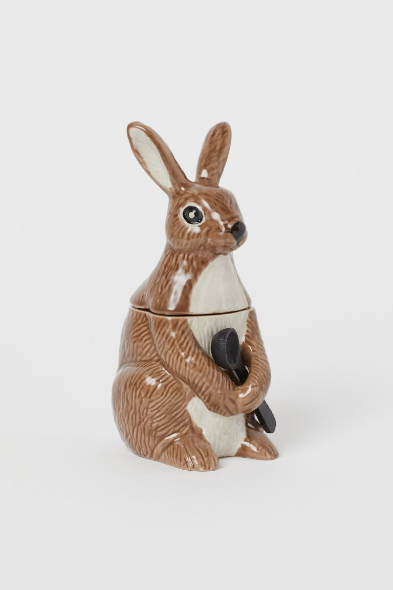 Ceramic jam pot - Brown/Hare - Home All | H&M IE
