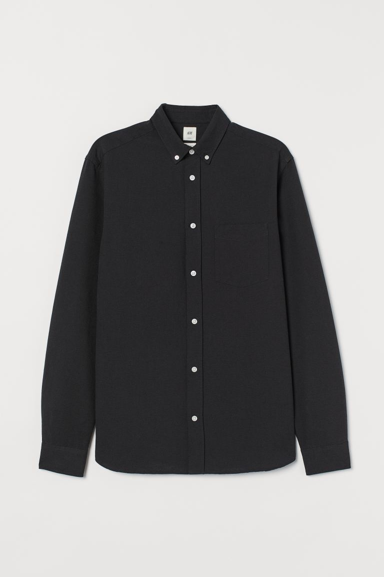 Oxford shirt Regular Fit - Black - Men | H&M