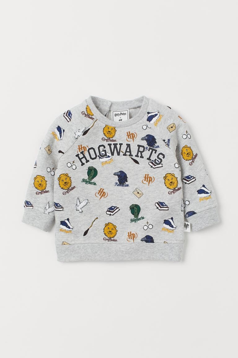 Cotton sweatshirt - Light grey marl/Hogwarts -  | H&M