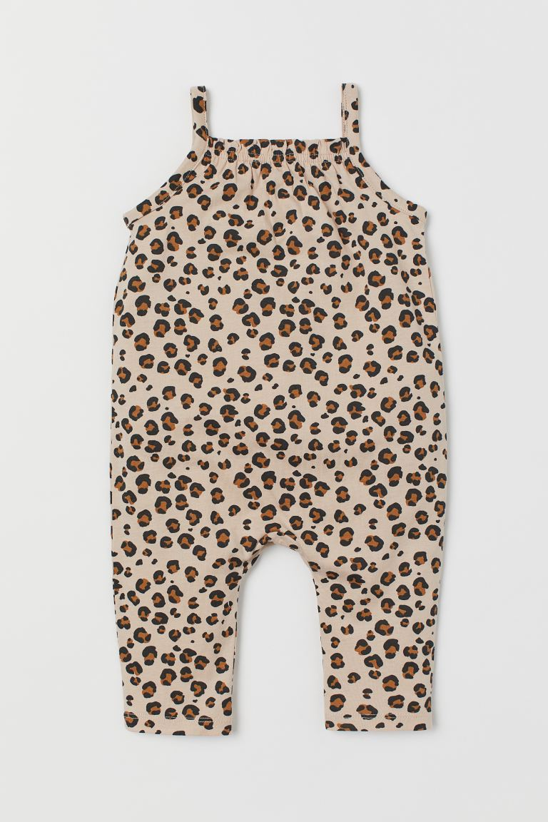 Sleeveless romper suit - Light beige/Leopard print -  | H&M GB