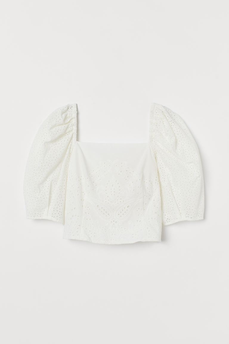 Eyelet Embroidery Blouse - White -  | H&M US