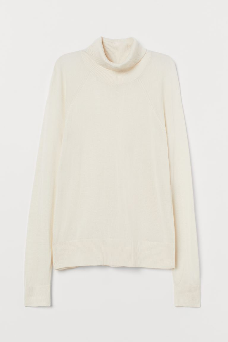 Fine-knit polo-neck jumper - Natural white - Ladies | H&M