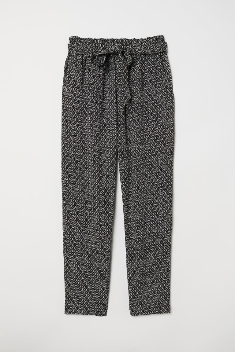 Paper-bag Pants - Black/patterned - Ladies | H&M US