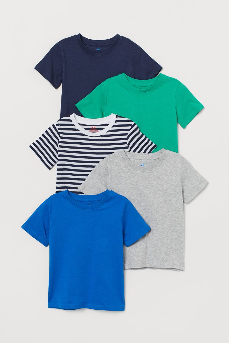 5er-Pack Baumwoll-T-Shirts - Knallblau/Gestreift - Kids | H&M AT