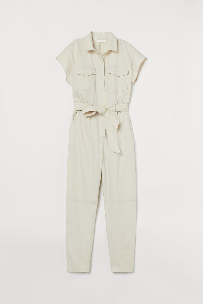 Cotton Utility Jumpsuit - Light beige - Ladies | H&M US 3