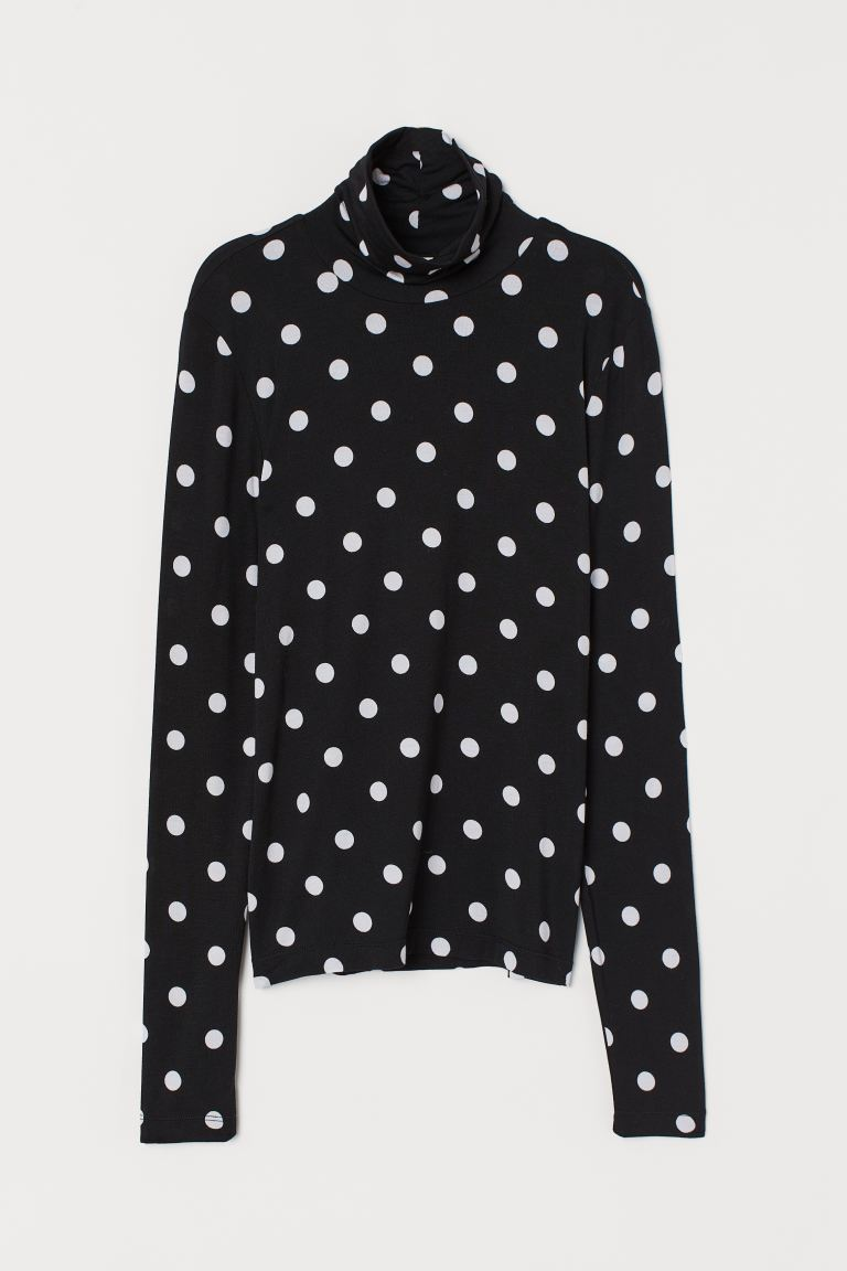 Modal Turtleneck Top - Black/white dotted - Ladies | H&M CA