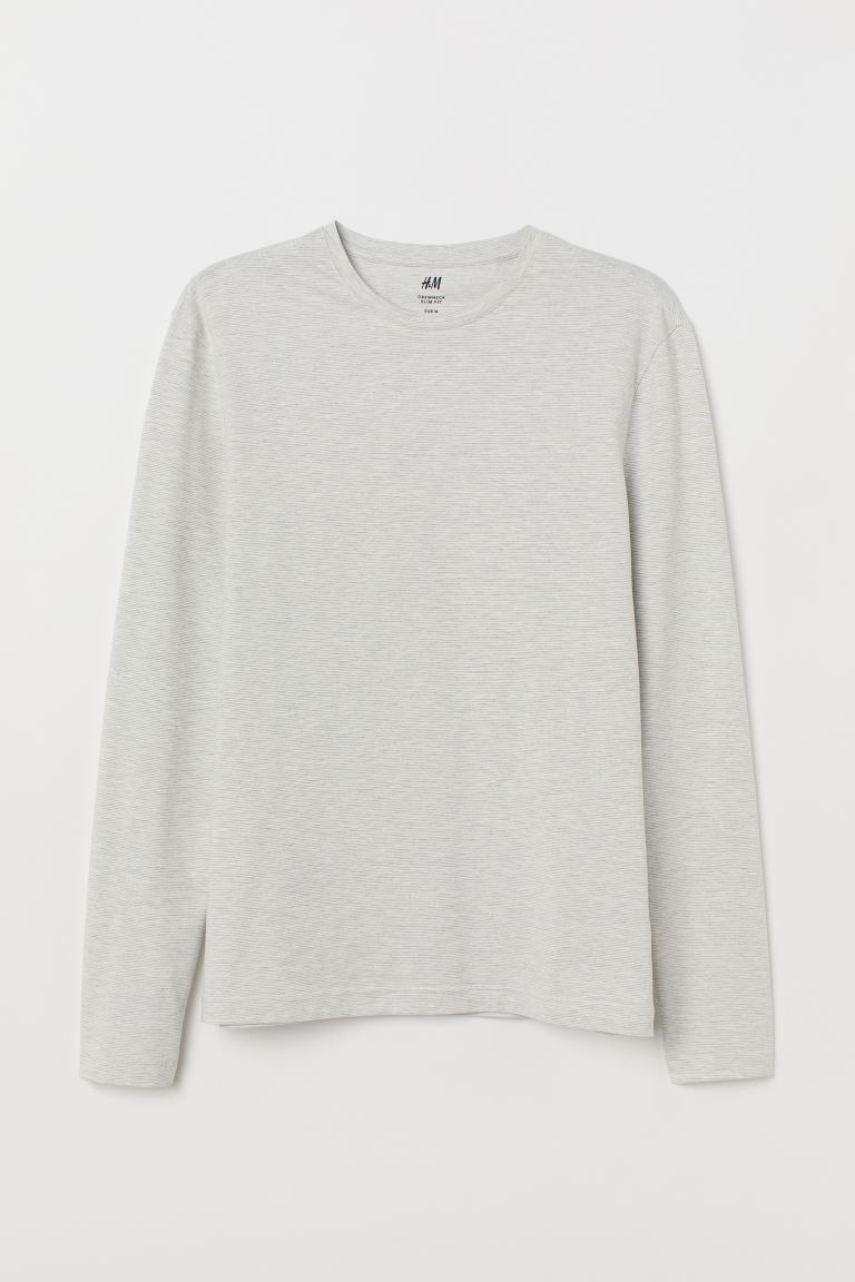 Long-sleeved Jersey Shirt - White/narrow striped - Men | H&M US