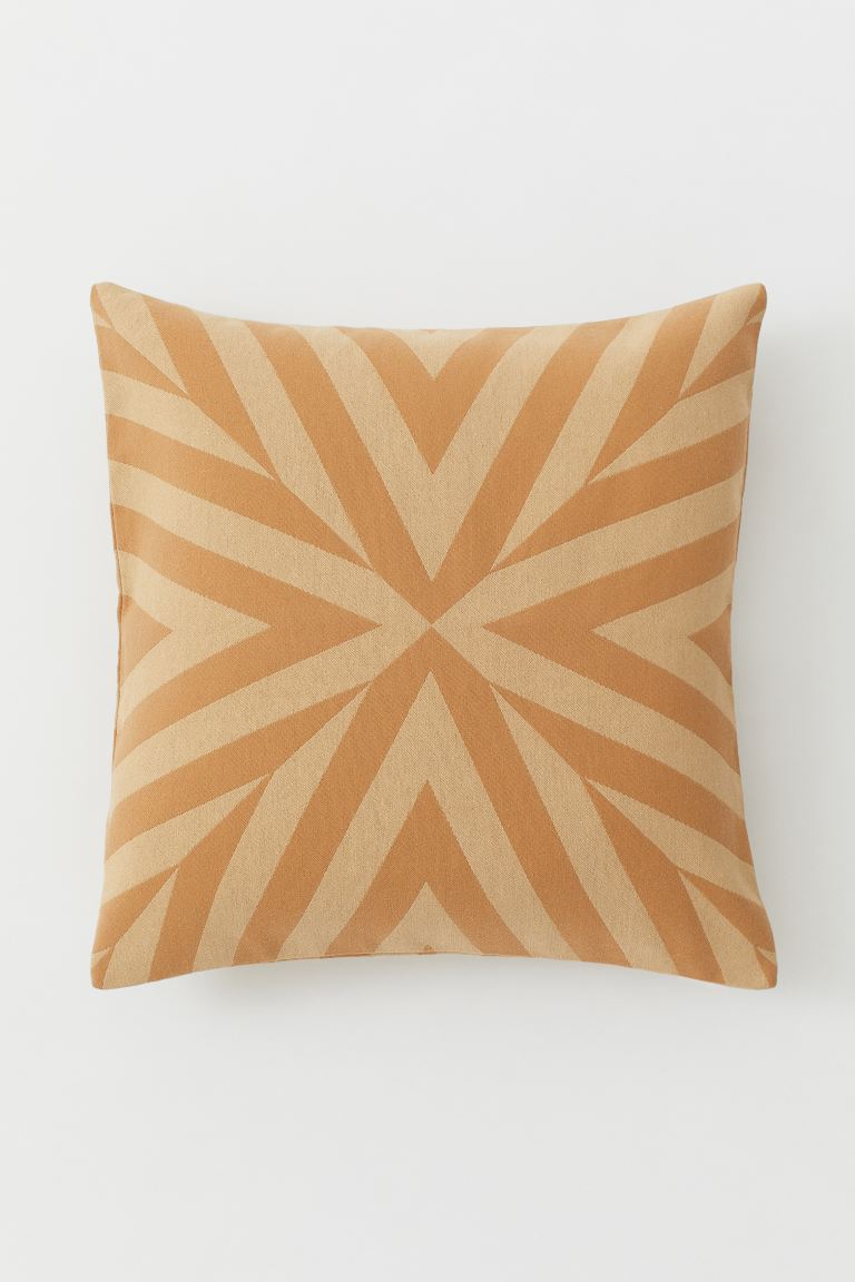 Jacquard-weave Cushion Cover - Dark beige/camel - Home All | H&M US