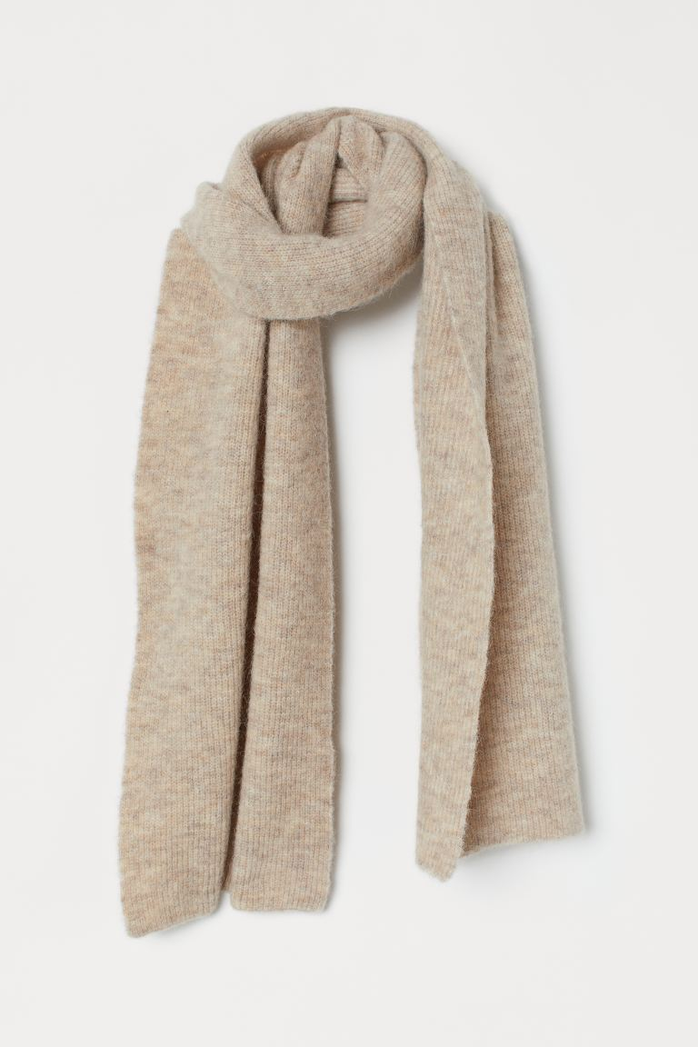 Large Wool-blend Scarf - Light beige melange - Ladies | H&M US