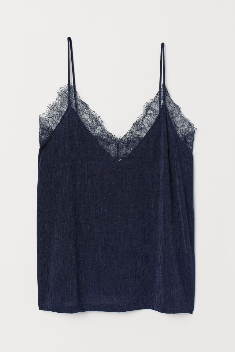 Top mit Spitze - Dunkelblau - Ladies | H&M AT