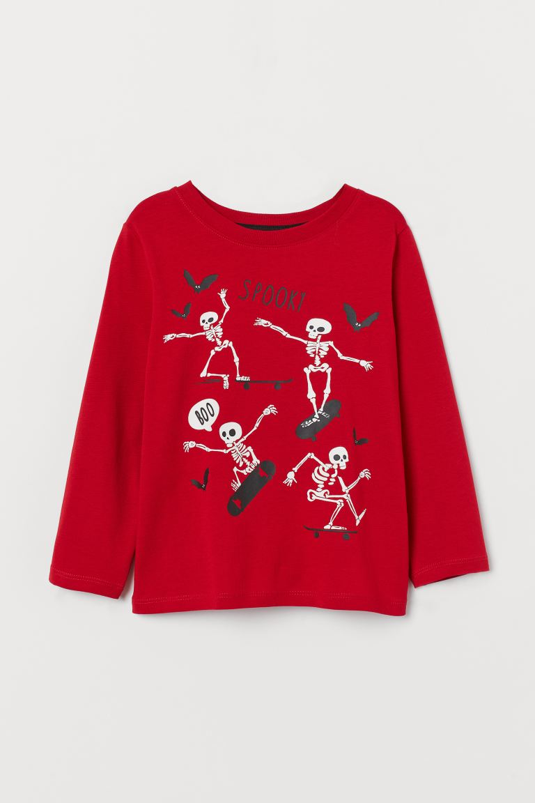 Printed jersey top - Blood red/Spooky - Kids | H&M