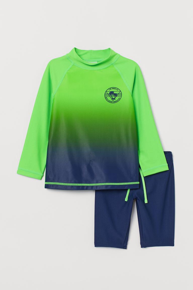 Swim Set UPF 50 - Green/dark blue - Kids | H&M US