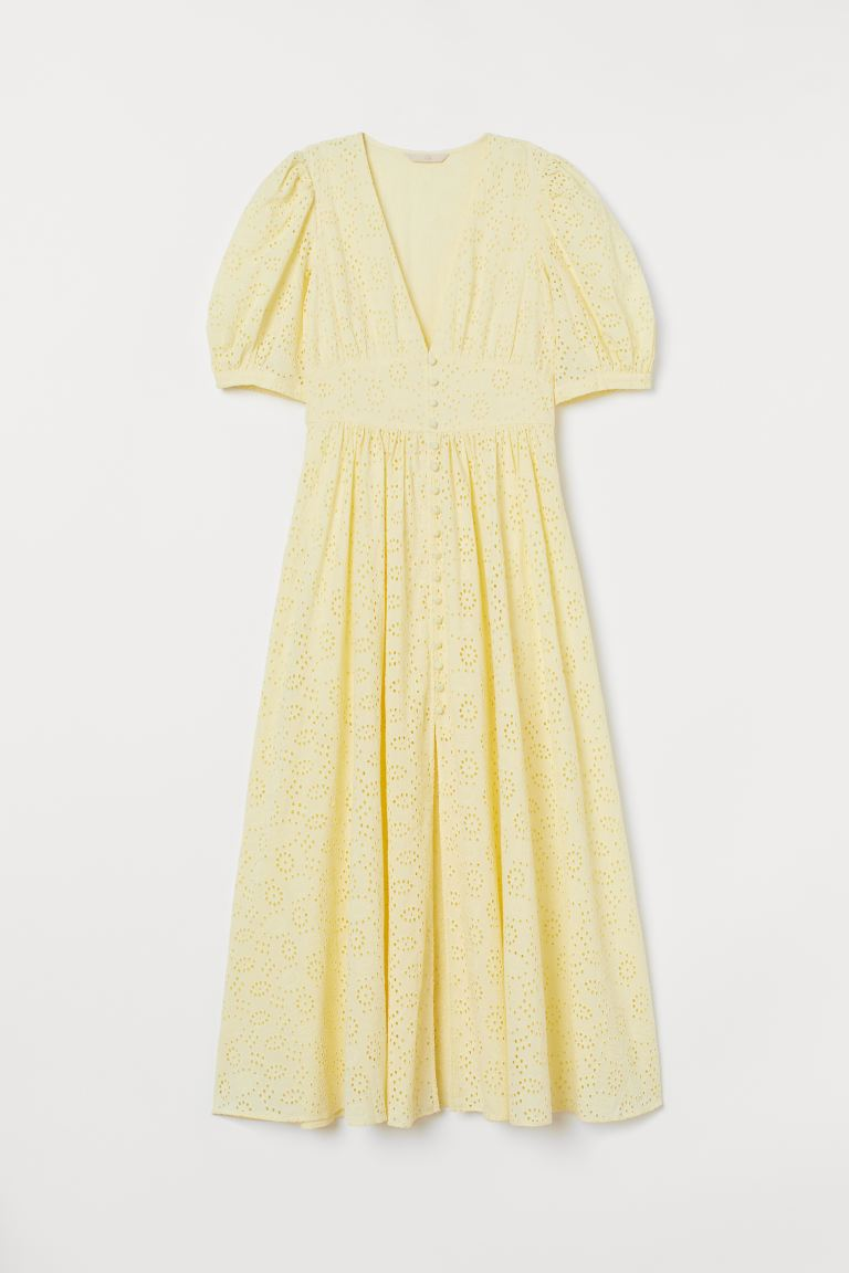 Embroidered Cotton Dress - Light yellow - Ladies | H&M CA