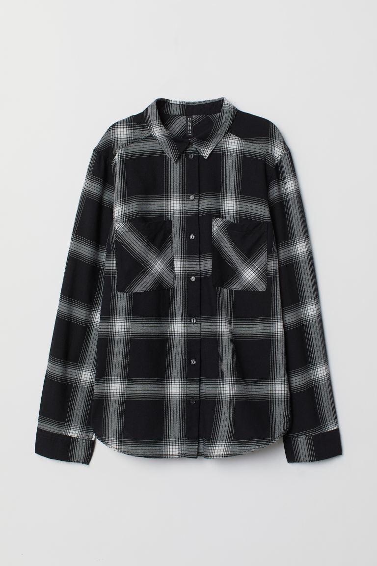 Cotton shirt - Black/White checked - Ladies | H&M GB