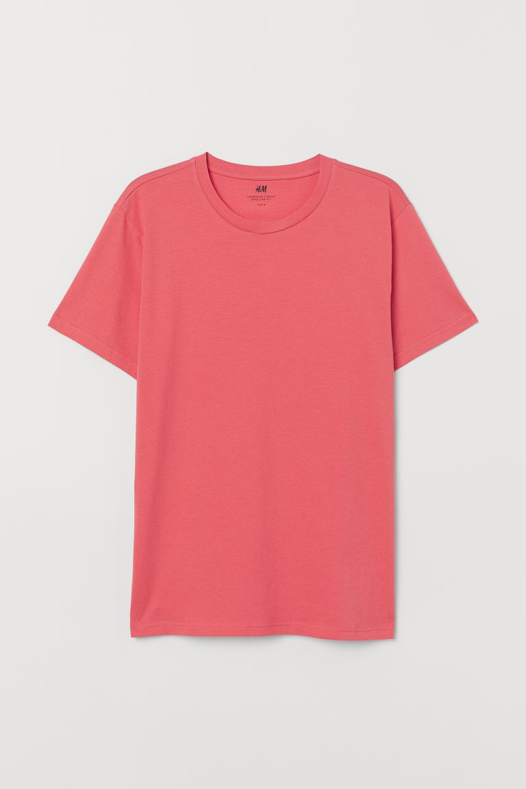 Regular Fit Crew-neck T-shirt - Coral - Men | H&M US