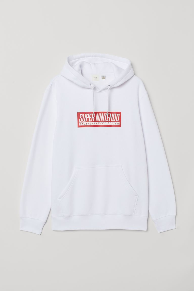 Printed hooded top - White/Super Nintendo - Men | H&M