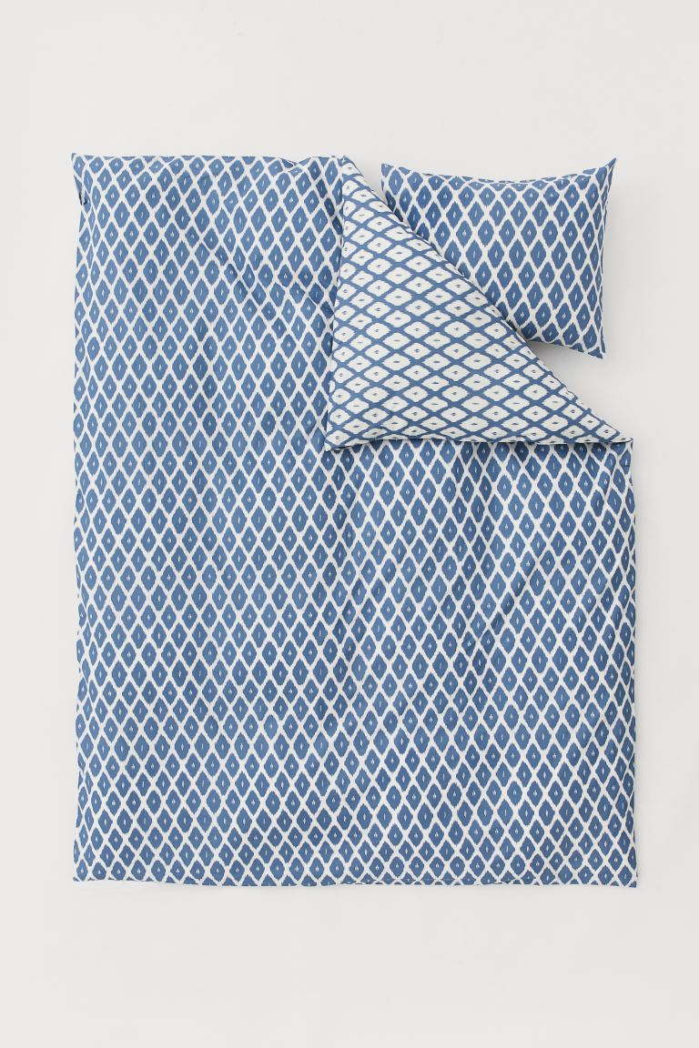 Cotton Box Copripiumino.Patterned Duvet Cover Set White Blue Patterned Home All H M Us