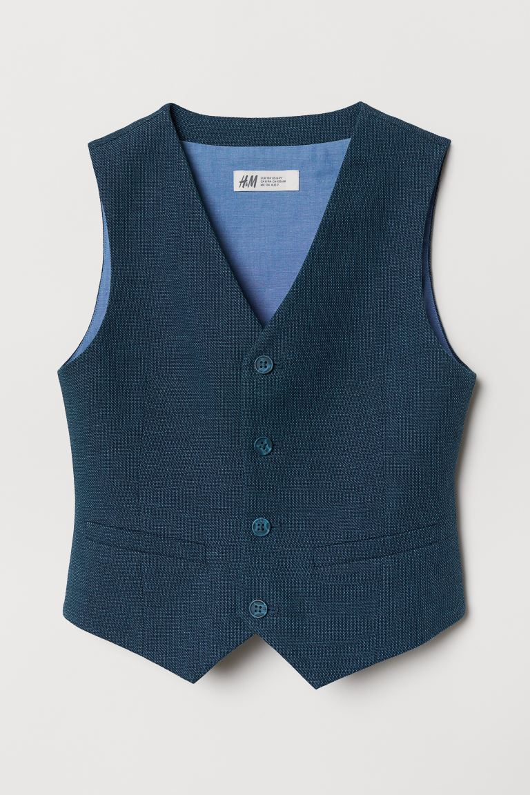 Linen-blend Suit Vest - Dark blue -  | H&M US