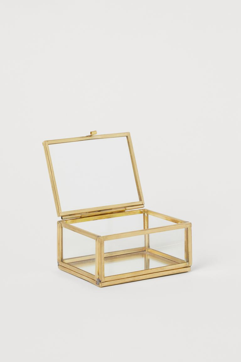 Small clear glass box - Gold - Home All | H&M GB