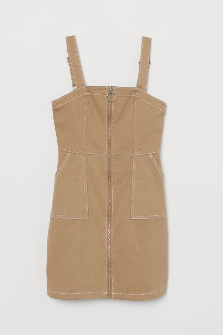 Dungaree dress - Beige - Ladies | H&M GB