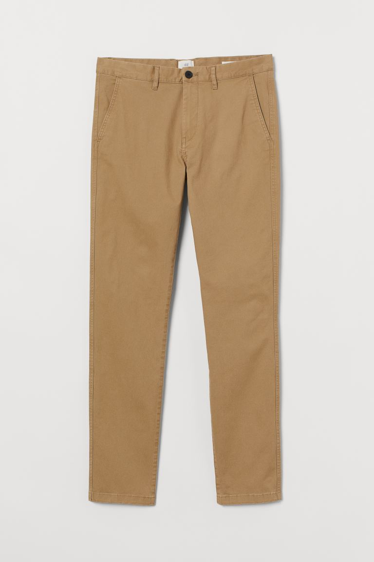 Skinny Fit Cotton Chinos - Khaki beige - Men | H&M CA