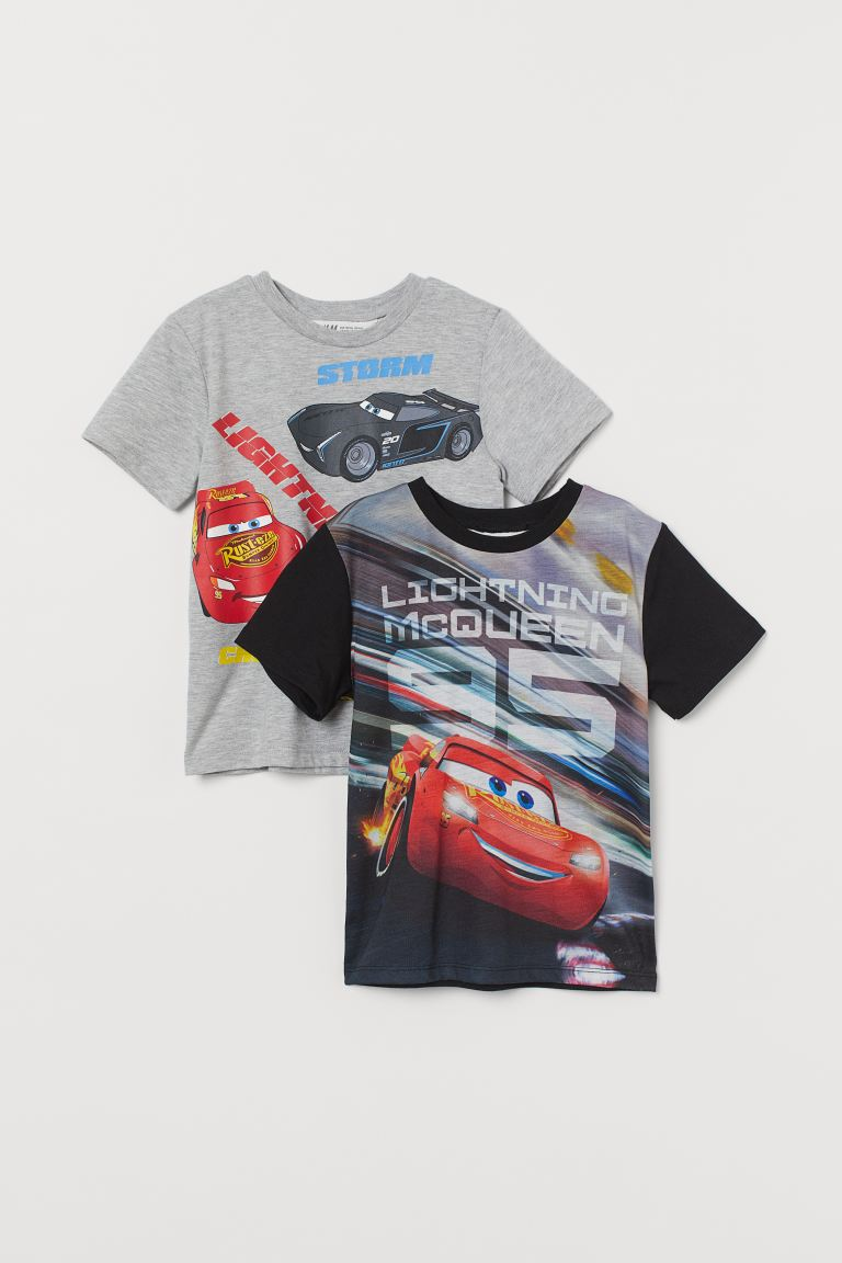 2-pack printed T-shirts - Black/Cars - Kids | H&M GB