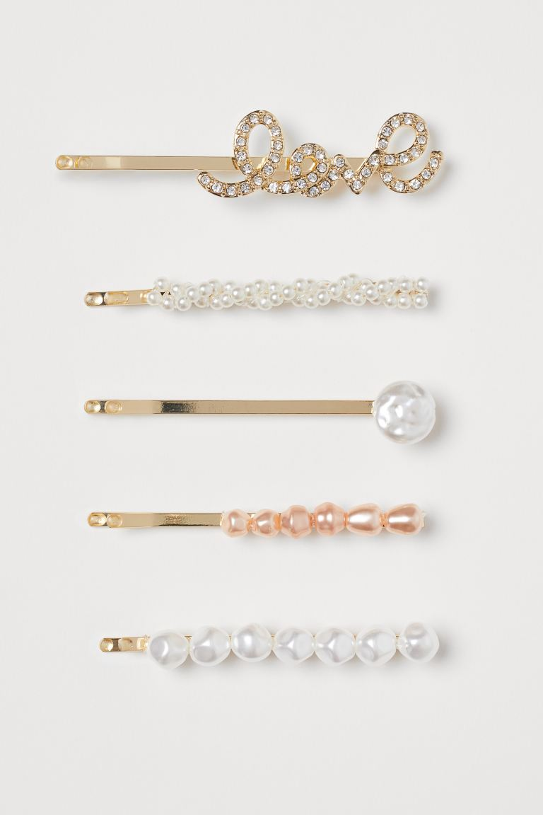 5-pack Large Hairpins - Gold-colored/Love - Ladies | H&M US