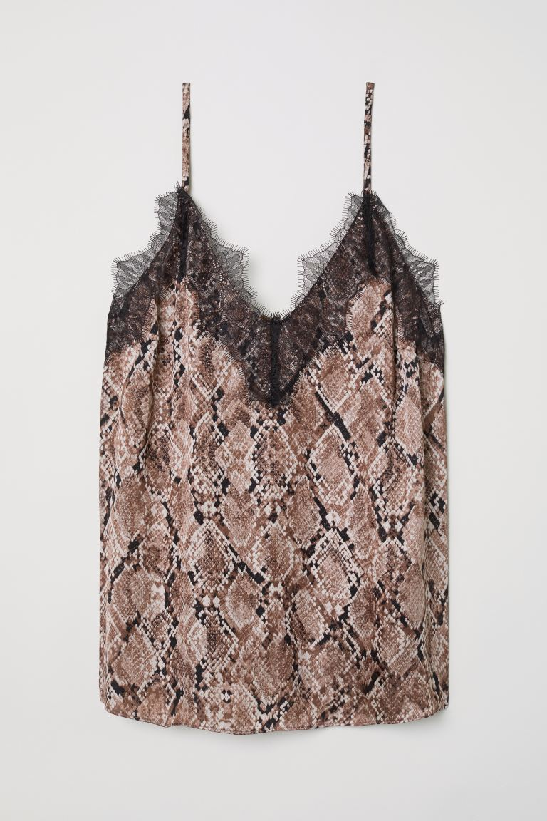 Strappy satin top with lace - Mole/Snakeskin-patterned - Ladies | H&M GB