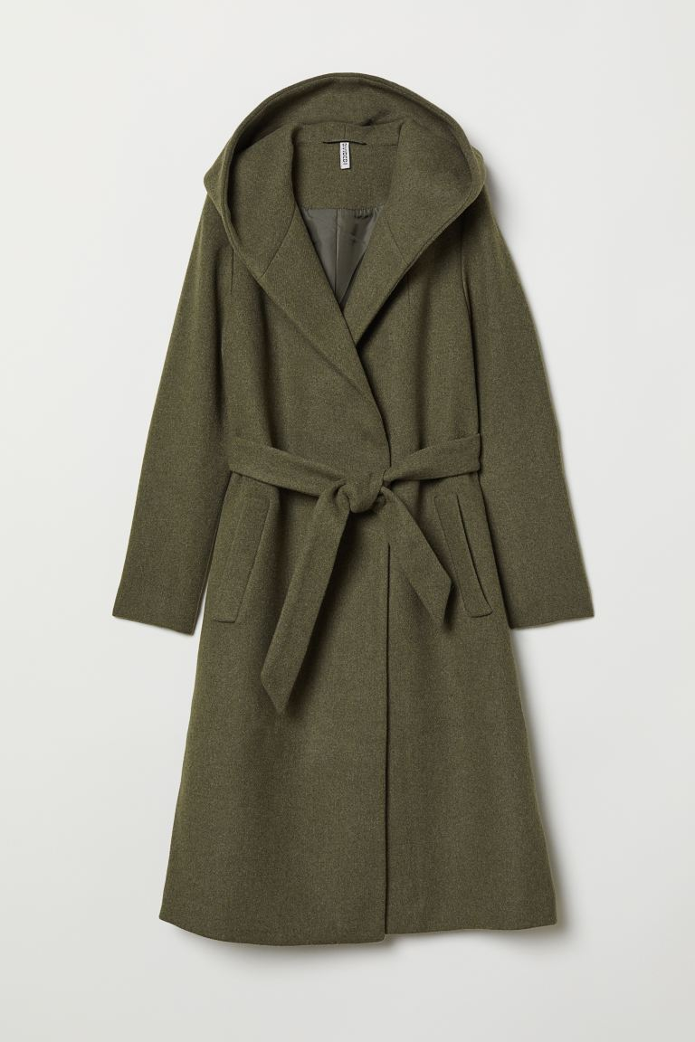 Wool-blend coat - Khaki green - Ladies | H&M IE