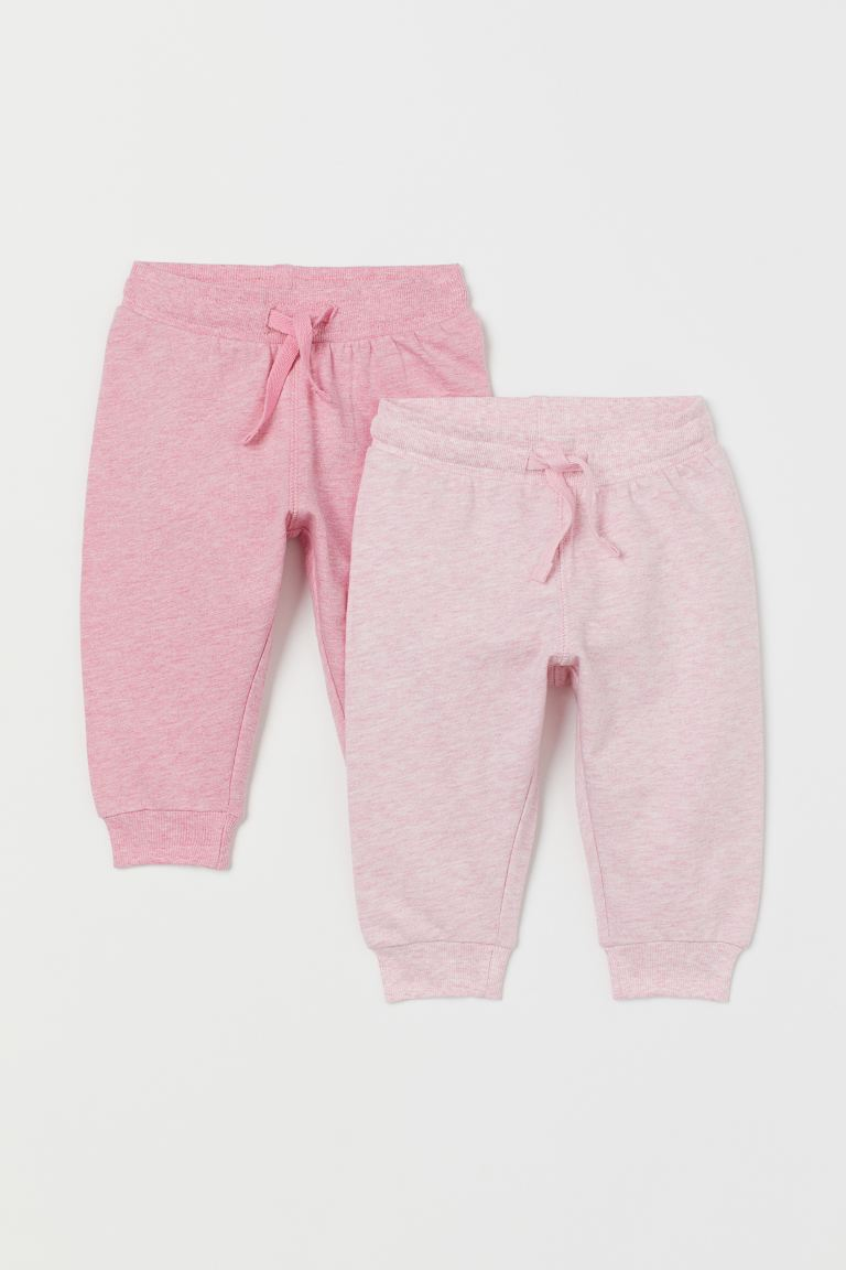 2-pack cotton joggers - Pink marl - Kids | H&M IN
