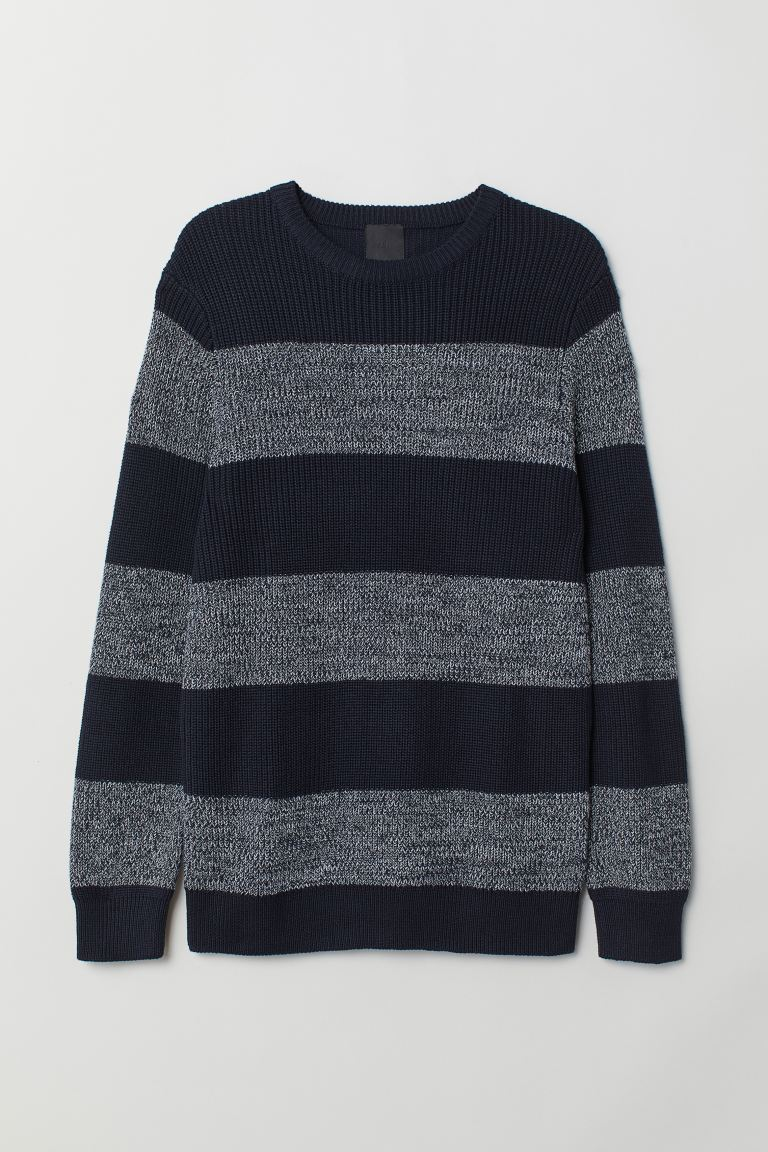 Textured-knit jumper - Dark blue/Striped - Men | H&M IE